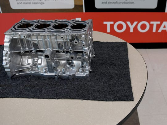 The Toyota New Global Architecture 2.5L engine block is in production at Toyota Bodine in Jackson.