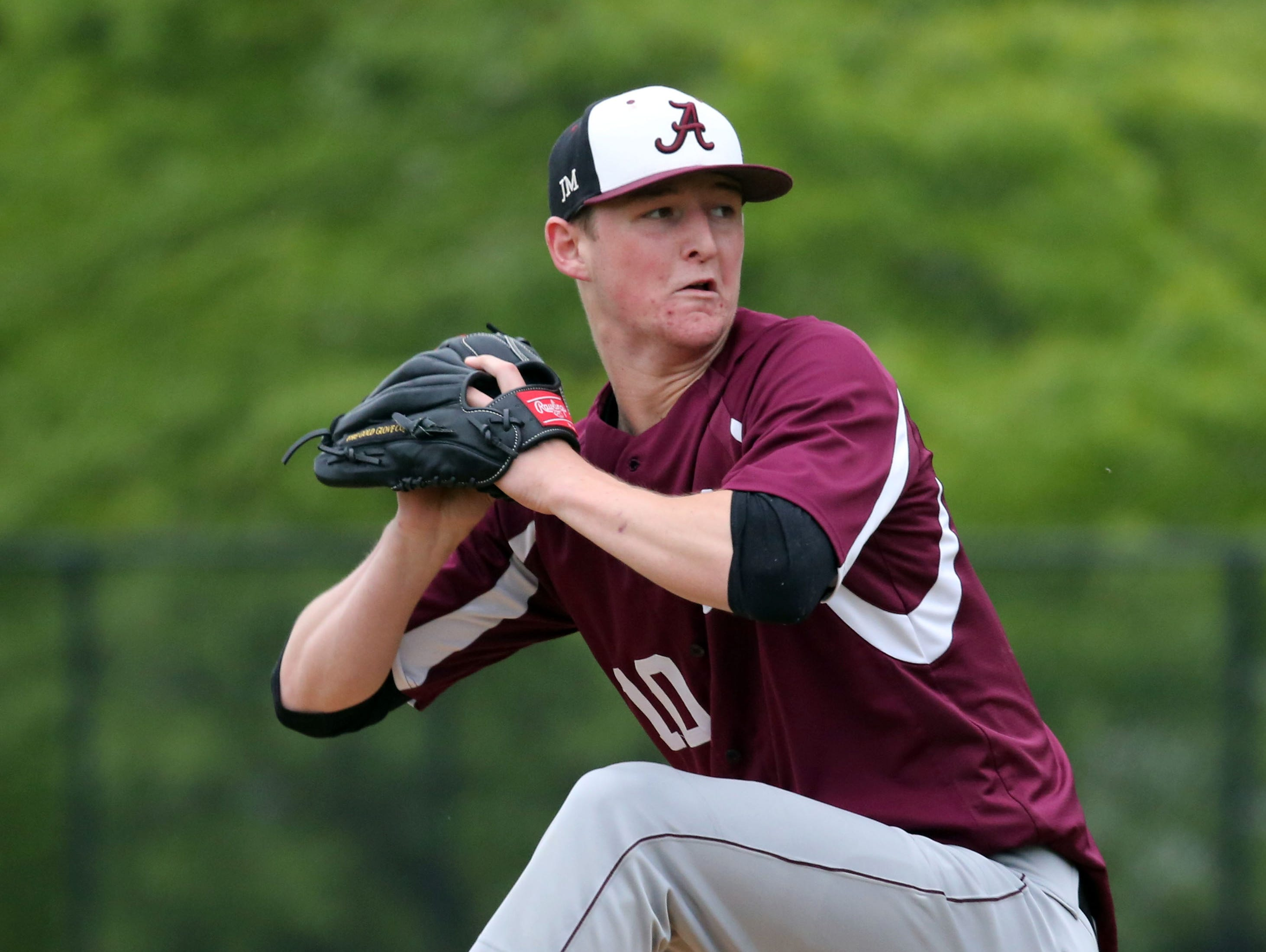 Albertus Magnus pitcher James Reilly delivers a pitch to Ardsley during their Class B game at Ardsley High School, May 21, 2016.