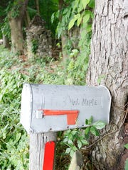 A mailbox at the entrance to the Konnight property