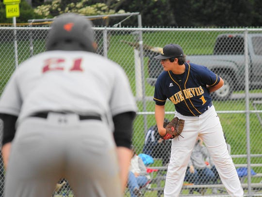 Greencastle-Antrim junior Nathan Starliper committed to the University of Maryland to play baseball, Thursday. Starliper is a left-handed relief pitcher for the Blue Devils.