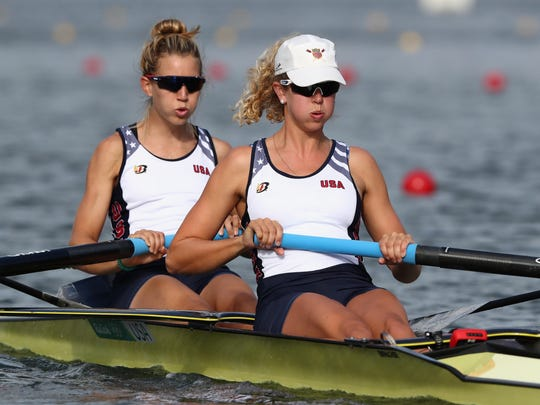 Felice Mueller and Grace Luczak of the United States compete in the Women's Pair semifinals on Thursday in Rio de Janeiro.