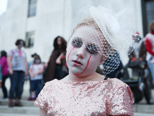Ava Brown, 9, participates in the annual Salem Zombie