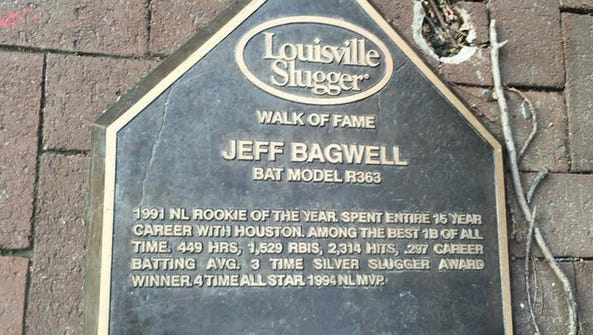 Jeff Bagwell's bat on the Louisville Slugger Hall of