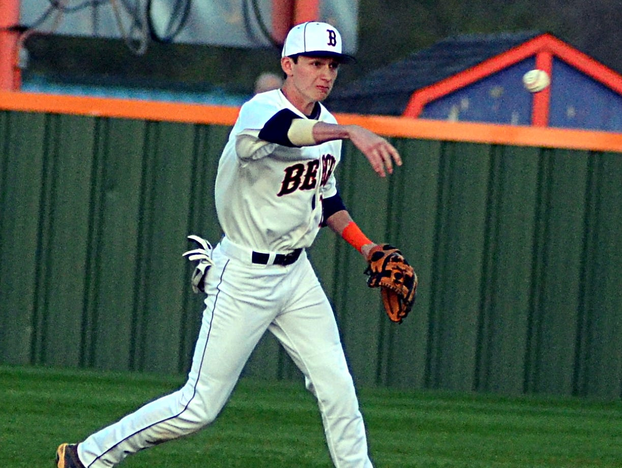 Beech High junior second baseman Ty Sutley throws to first base during first-inning action. Sutley stole a base and scored a run in Beech's 4-2 loss.
