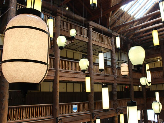 When the Many Glacier Lodge was built, Japanese paper lanterns were hung from the ceiling. Designers mimicked the lantern and their pattern with modern lighting fixtures during the rehabilitation of the lodge.