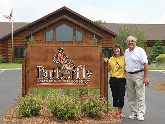 Marty and Jack Voight at their Butterfly Gardens of Wisconsin facility near Appleton.