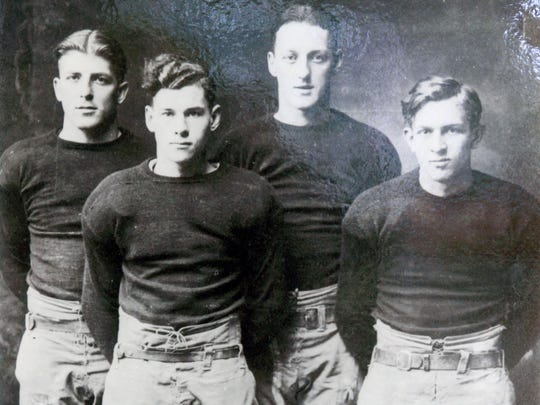 """Thomas Tucker """"""""Swede'' Hanson, third from the left, shown in a 1925 portrait of the """"""""Four Horsemen of Leonardo,'' the starting backfield for Leonardo High School's state championship team. From left to right are Otto Schnoor, Norbert ``Norby'' Simpson, Hanson and Donald ``Dutch'' Uhrig."""