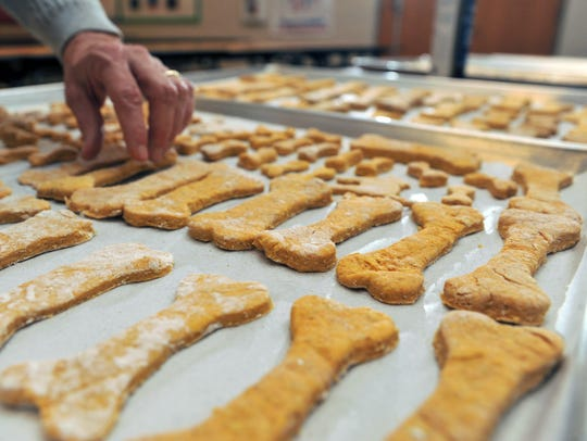 Petway deaf education students make dog biscuits, Tuesday,