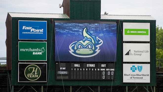 The scoreboard at Centennial Field during the Vermont Lake Monsters game against the Connecticut Tigers at Centennial Field in 2014.