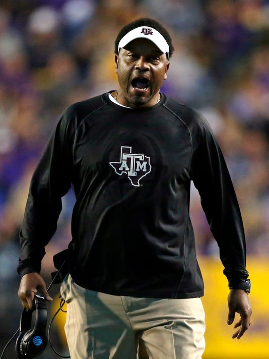 Texas A&M coach Kevin Sumlin reacts on the sideline during the first half of the team's NCAA college football game against LSU in Baton Rouge, La., Saturday, Nov. 25, 2017. (AP Photo/Gerald Herbert)