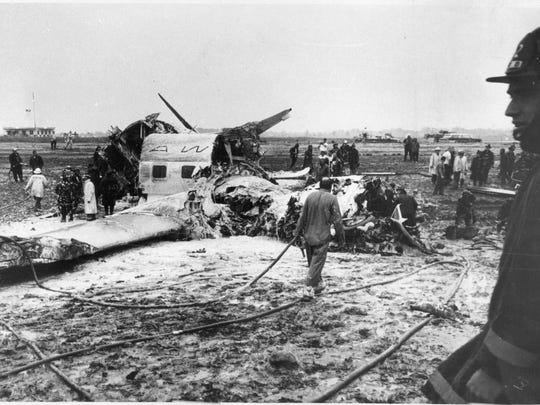 The remains of the Mohawk crash at Rochester-Monroe County Airport in 1963.
