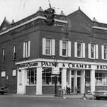 The Wiltsie & Crump building in Pittsford has long been a retail space; in this 1959 photo, Paine & Cramer Drugs did business at the location.