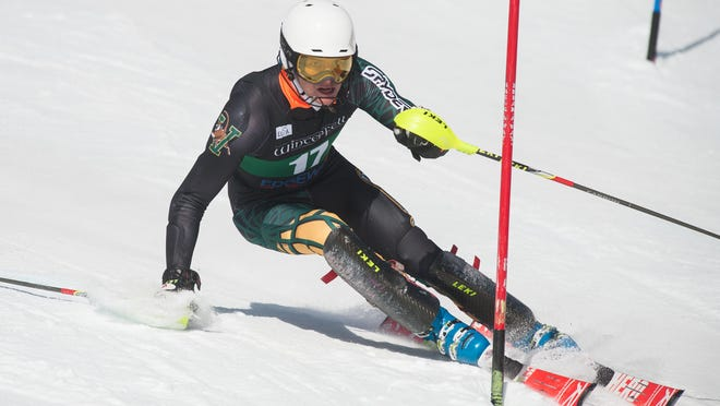 Vermont's William St. Germain competes in the slalom event during the University of Vermont ski carnival at Stowe Mountain Resort in 2015.