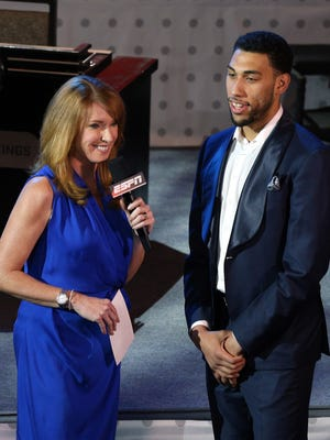 Former MSU guard Denzel Valentine is interviewed by ESPN's Heather Cox during the NBA draft lottery on May 17. He is back in Brooklyn for Thursday night's NBA draft.