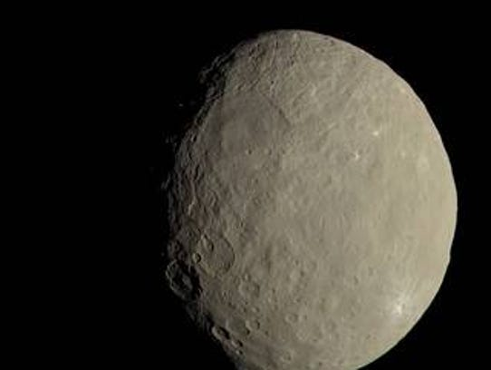 This image of Ceres approximates how the dwarf planet's
