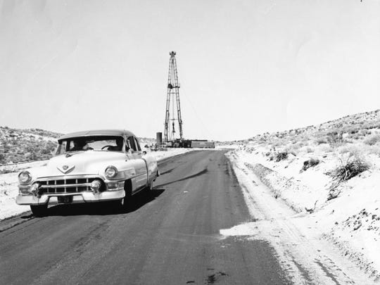Drilling on Edom Hill in 1954.