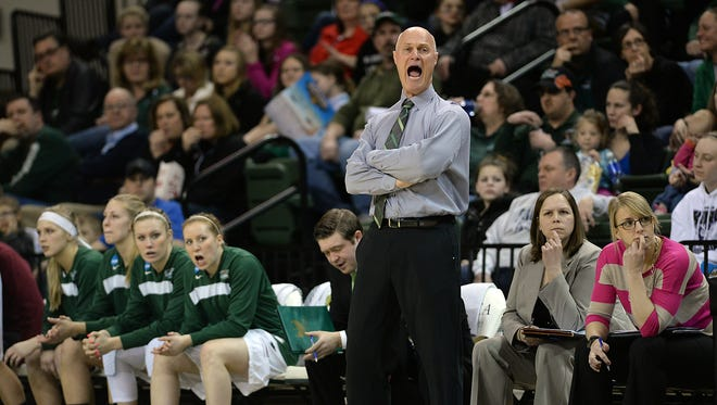UWGB head coach Kevin Borseth with his bench against UW-Milwaukee at the Kress Center March 11, 2015.