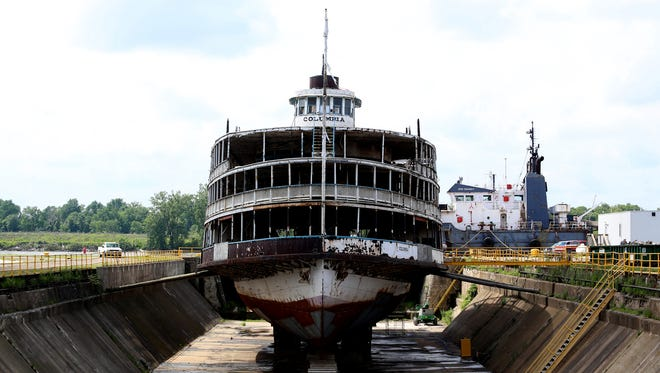 The SS Columbia, one of the two Boblo boats, sits in dry dock at a shipyard in Toledo on June 8.