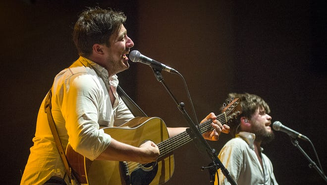 Marcus Mumford, left, performs with Mumford and Sons in front of a sold-out audience. With opening acts Bear's Den and Vaccines, Klipsch Music Center hosted Mumford and Sons  Monday, September 2, 2013. / Doug McSchooler/for The Star