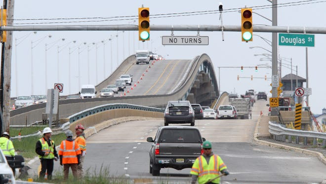 Route 37 Eastbound traffic flows east again over the Thomas A. Mathis bridge (right) in this view from Toms River Tuesday morning, May 10, 2016.  The J. Stanley Tunney bridge is shown at left.