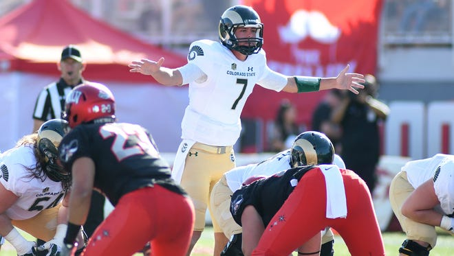 CSU quarterback Nick Stevens signals before stepping under center to take a snap in a 42-23 win Oct. 22 at UNLV. The Rams hope they can build on the momentum they gained in that game and carry it through this week after having a bye last weekend.