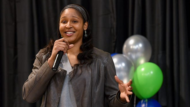 WNBA player Maya Moore speaks during Coaches 4 Character at The Salvation Army Kroc Center in Greenville on Tuesday, December 6, 2018.
