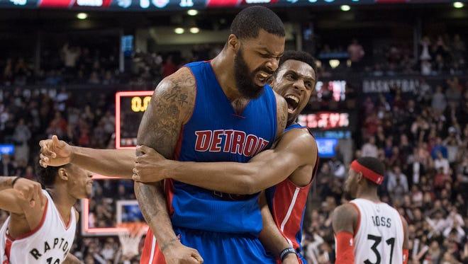 Detroit Pistons forward Marcus Morris, left, celebrates after defeating the Toronto Raptors on Feb. 12, 2017.