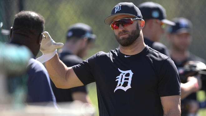 Detroit Tigers outfielder Tyler Collins goes through drills during Tigers Spring Training on Thursday, Feb. 16, 2017 at Publix Field at Joker Marchant Stadium in Lakeland, Fla.