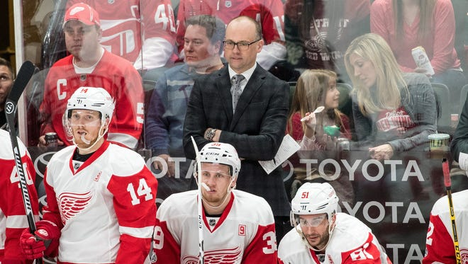 Detroit Red Wings coach Jeff Blashill looks on during the third period against the Minnesota Wild on Feb. 12, 2017.
