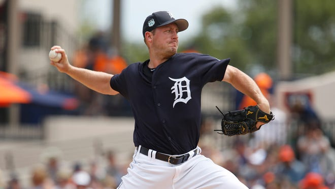 Mar 26, 2017; Lakeland, FL, USA;  Tigers starting pitcher Jordan Zimmermann throws a pitch during the first inning against the Blue Jays at Joker Marchant Stadium.