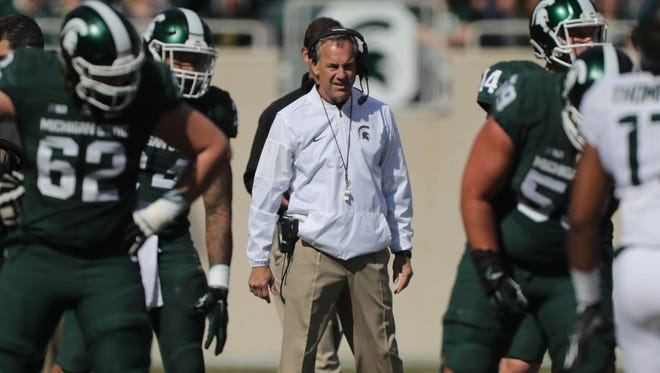 Michigan State head coach Mark Dantonio watches the action during the spring game at Spartan Stadium, Saturday, April 1, 2017.