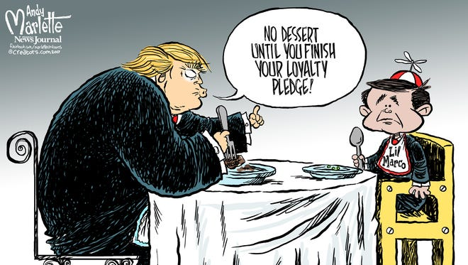 Marco Rubio and Trump loyalty commentary by Andy Marlette