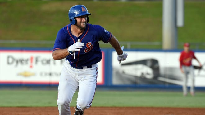 Tim Tebow runs the bases during the St. Lucie Mets' game against the Palm Beach Cardinals on Thursday, June 29, 2017, at First Data Field in Port St. Lucie.
