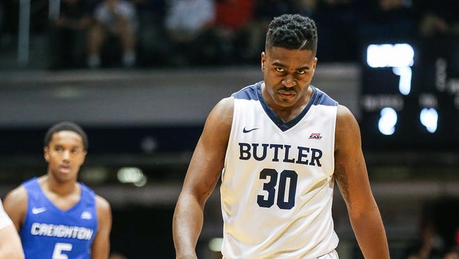Butler Bulldogs forward Kelan Martin (30) winces after a hard fall during first half action between Butler and Creighton at Hinkle Fieldhouse in Indianapolis, Tuesday, Feb. 20, 2018. Butler led at the half, 46-34.