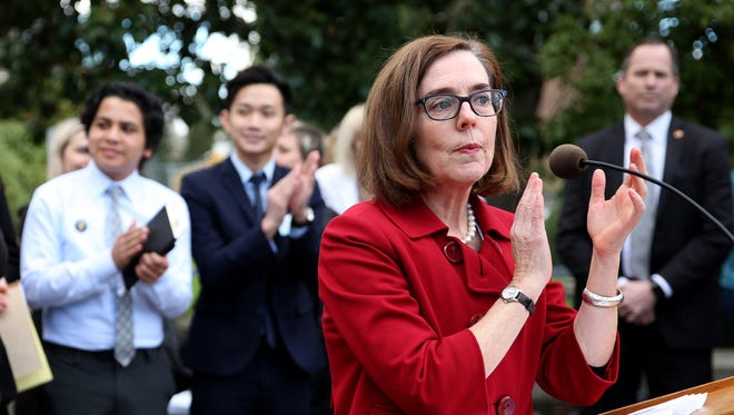 Gov. Kate Brown delivers remarks at the Oregon State Capitol in Salem on Monday, March 5, 2018.