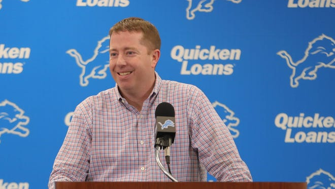 Detroit Lions GM Bob Quinn talks with reporters about the 2018 draft class Saturday, April 28, 2018 in Allen Park.