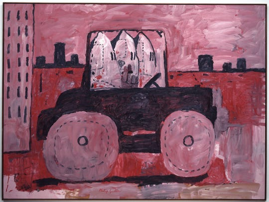 """City Limits,"" 1969, Philip Guston, oil on canvas. Museum of Modern Art, New York, Gift of Musa Guston, 1991. From the exhibit titled, ""Art of Rebellion: Black Art of the Civil Rights Movement"" at the DIA July 23 - Oct. 22, 2017."