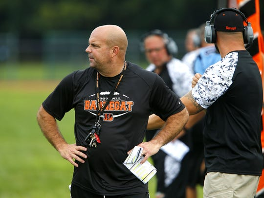 Barnegat coach Rob Davis is shown on the sideline during scrimmage at Freehold Township Tuesday, August 22, 2017