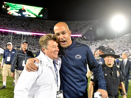Penn State athletic director Sandy Barbour and head
