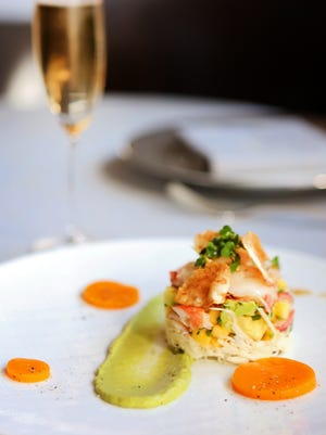 The Maine lobster dish: mango, celery root, avocado, and pistachio.