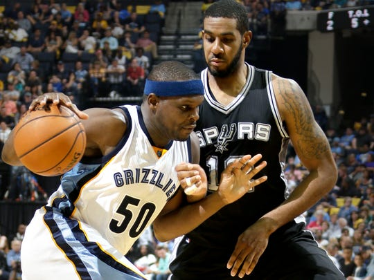 Grizzlies Zach Randolph (left) remains a reliable low-post scorer in an era of stretch-four forwards. (Nikki Boertman/The Commercial Appeal)