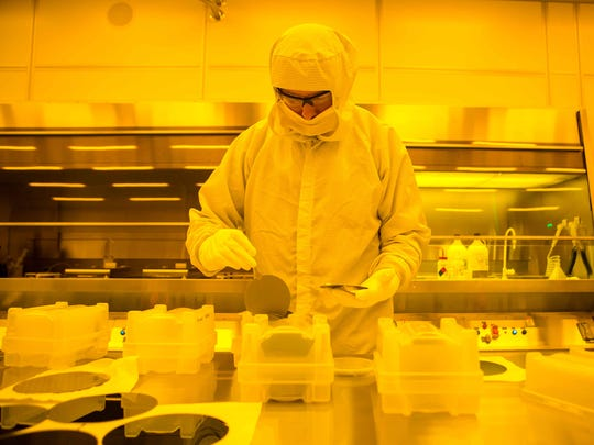 Special color lighting is used to protect from blue and ultraviolet rays at the UD Nanofabrication Facility (UDNF) in the Harker ISE Lab.