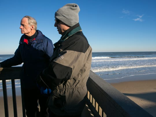 Gov. Jack Markell (right) and Sen. Tom Carper join Congressman John Carney as they take a tour of the flood damage at Bethany Beach from the ground and in the air.