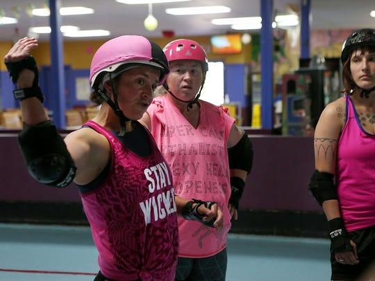 The San Angelo Roller Girls, aka the Thunder Kittens, roller derby team raised funds for the American Cancer Society in a match against the Cosmic Vixen Roller Derby at Foster Communications Coliseum.