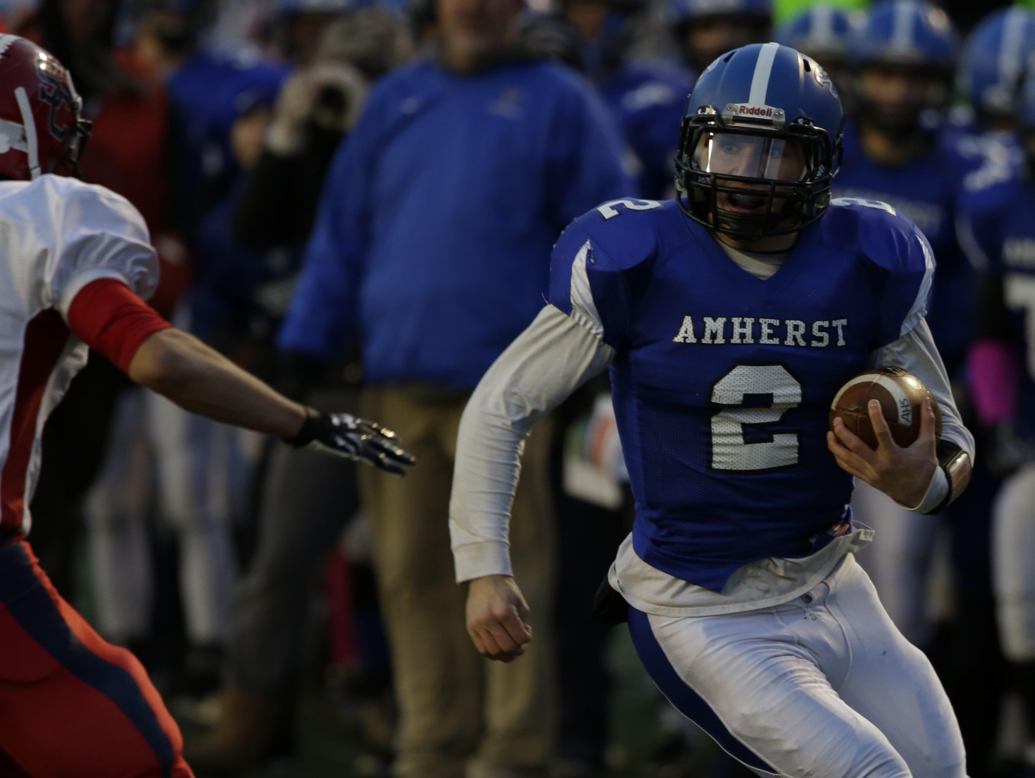 Amherst's Garrett Groshek rushed and passed for more than 3,800 yards this season.
