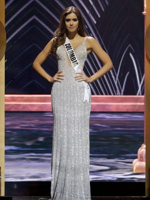 Miss Colombia Paulina Vega poses during the Miss Universe pageant Sunday in Miami.