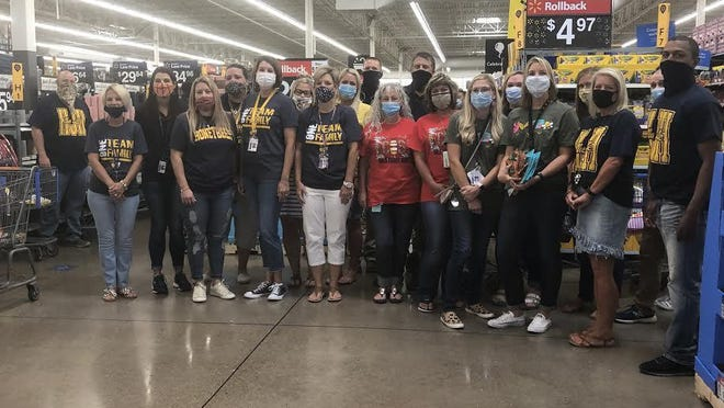 Stephenville ISD teachers spent their Monday morning shopping at Walmart using the $100 gift card they each received to purchase supplies for their classroom.