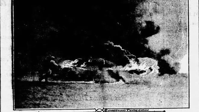 This photo from the July 16, 1917, edition of the Great Falls Daily Tribune shows French troops making a rushing attack with flamethrowers.