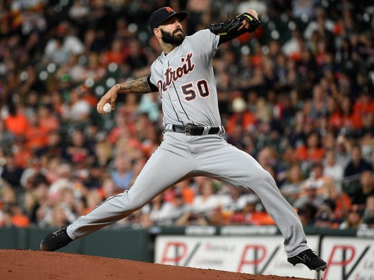 Detroit Tigers starting pitcher Mike Fiers delivers during the first inning of a baseball game against the Houston Astros, Friday, July 13, 2018, in Houston.
