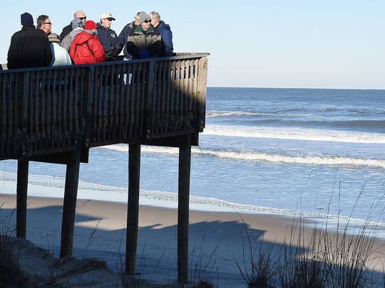 Governor Jack Markell visited Bethany Beach with U.S. Senator Tom Carper and other State Officals on Sunday January 24th to view storm damage. The dune crossings at Bethany Beach were closed because of the dangerous drop to the beach.